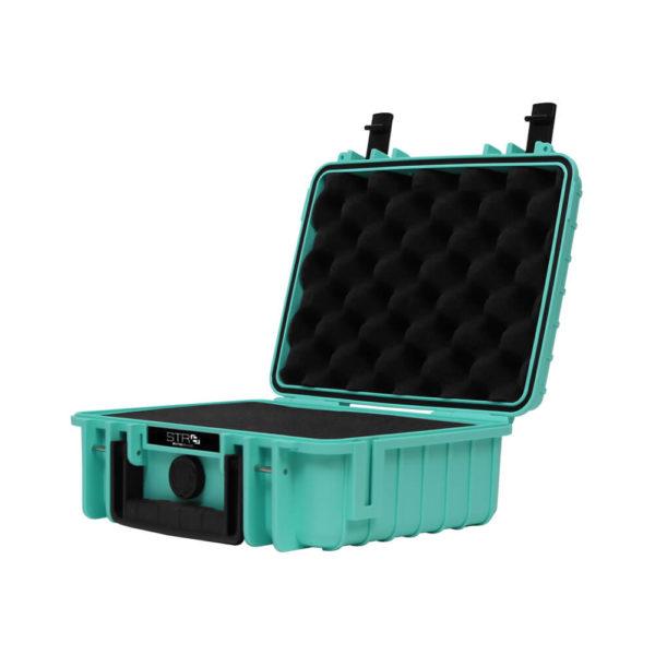 10 Inch STR8 Case opened in STR8 Teal with 2 layer pre cut foam in black