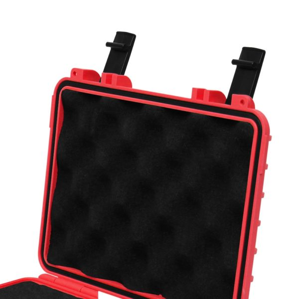 8 Inch STR8 Case Opened with focus on inner lid and black clamps in Fury Red With Egg Crate Lid Foam in black