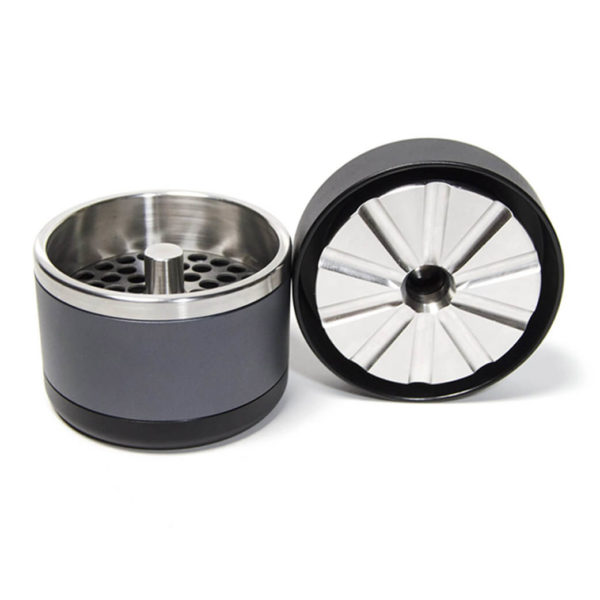 Black and grey, 4 Piece Grinder in 53 mm opened, STR8 Flower Mill in stainless steel
